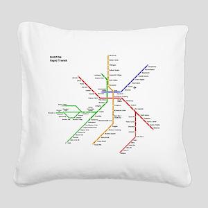 Boston Rapid Transit Map Subw Square Canvas Pillow
