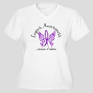 Lupus Butterfly 6 Women's Plus Size V-Neck T-Shirt