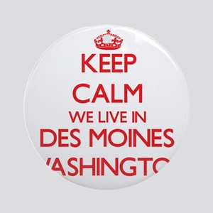 Keep calm we live in Des Moines W Ornament (Round)