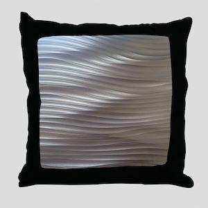 Golden Metal Waves Throw Pillow
