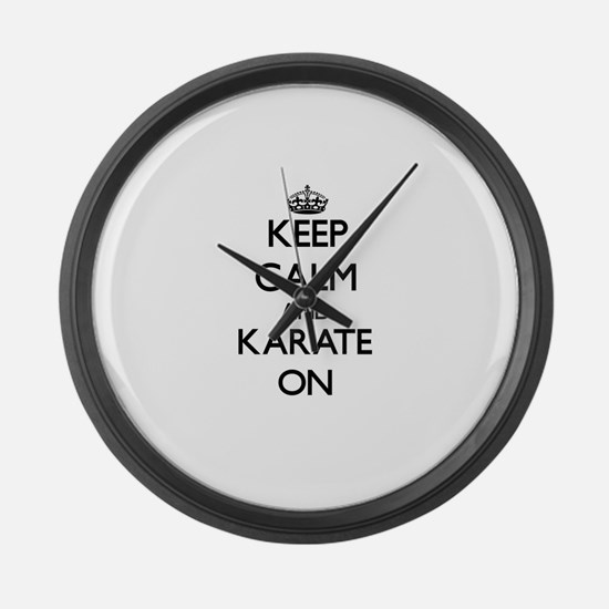 Keep calm and Karate ON Large Wall Clock