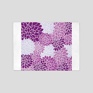 Purple Flowers 5'x7'Area Rug