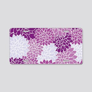 Purple Flowers Aluminum License Plate