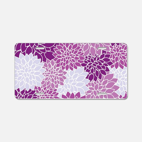 Purple Flowers Aluminum License Plate