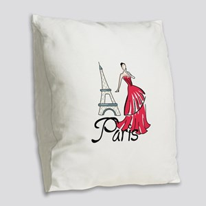 PARIS MODEL Burlap Throw Pillow