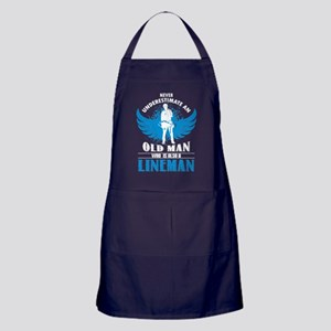An Old Man Who Is Also A Lineman T Sh Apron (dark)