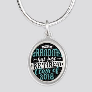 Retired Grandma Silver Oval Necklace