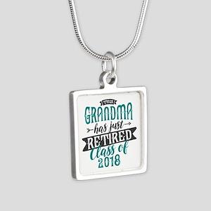 Retired Grandma Silver Square Necklace