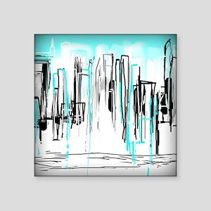 "City Painted in Aqua Square Sticker 3"" x 3"""