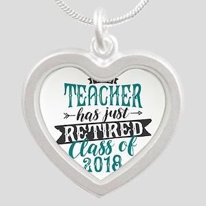 Retired Teacher Silver Heart Necklace