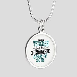 Retired Teacher Silver Round Necklace