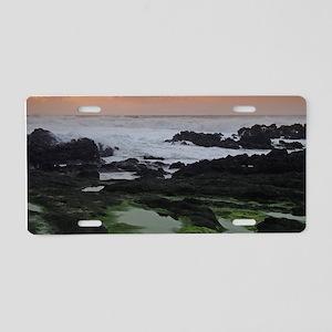 Seascape at sunset Aluminum License Plate