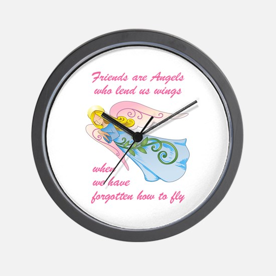 FRIENDS ARE ANGELS Wall Clock