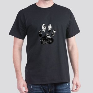 Grunge Black And White Dog Paw Prin T-Shirt