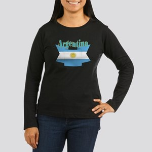 Argentina ribbon Women's Long Sleeve Dark T-Shirt