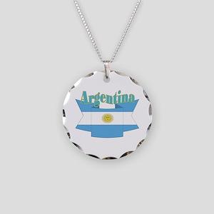 Argentina ribbon Necklace Circle Charm