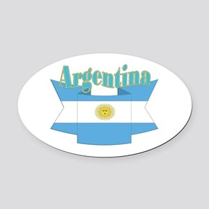 Argentina ribbon Oval Car Magnet