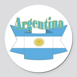 Argentina ribbon Round Car Magnet