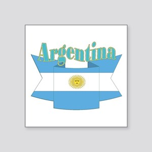 "Argentina ribbon Square Sticker 3"" x 3"""