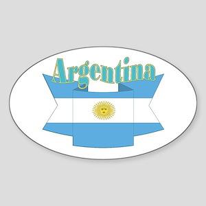 Argentina ribbon Sticker (Oval)