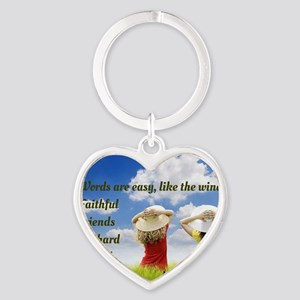 Faithful Friends Are Hard To Find Heart Keychain