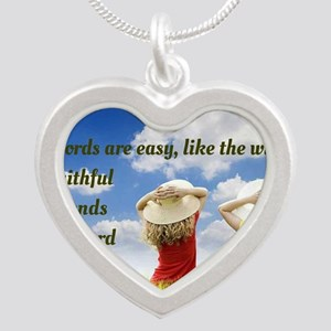 Faithful Friends Are Hard To Silver Heart Necklace
