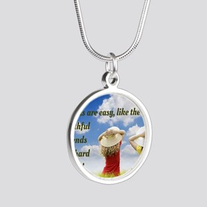Faithful Friends Are Hard To Silver Round Necklace