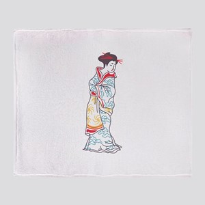 JAPANESE WOMAN LARGE OPEN Throw Blanket