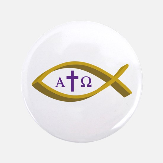 """ALPHA AND OMEGA 3.5"""" Button"""