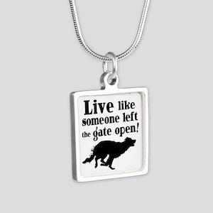 OPEN GATE Silver Square Necklace