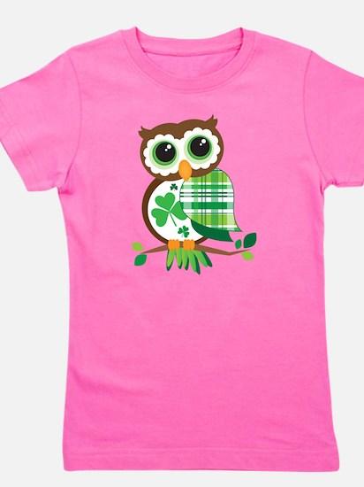St Patrick's Day Owl Girl's Tee