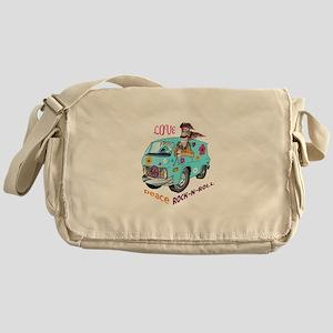 PEACE LOVE ROCK N ROLL Messenger Bag