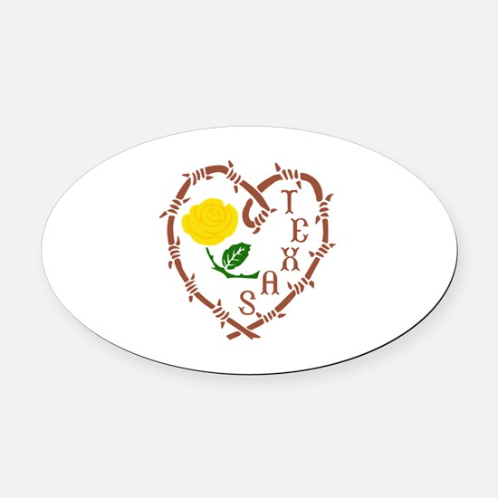 YELLOW ROSE OF TEXAS Oval Car Magnet