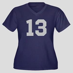 SILVER #13 Women's Plus Size V-Neck Dark T-Shirt