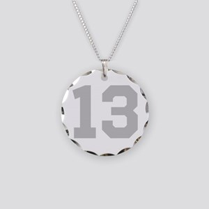 SILVER #13 Necklace Circle Charm