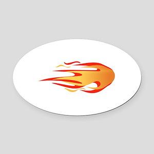 LARGE FLAMES Oval Car Magnet