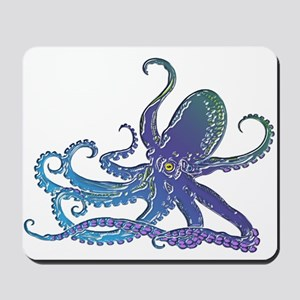Shiny Blue Purple Graphic Octopus Mousepad
