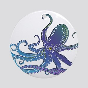 Shiny Blue Purple Graphic Octopu Ornament (Round)