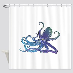 Shiny Blue Purple Graphic Octopus Shower Curtain