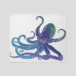 Shiny Blue Purple Graphic Octopus Throw Blanket
