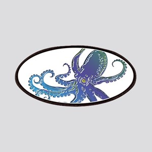 Shiny Blue Purple Graphic Octopus Patches
