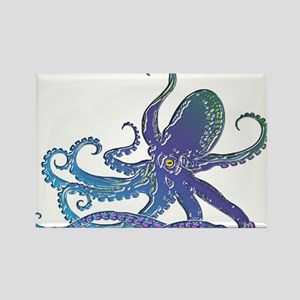 Shiny Blue Purple Graphic Octopus Magnets
