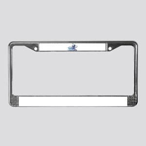 Shiny Blue Purple Graphic Oct License Plate Frame