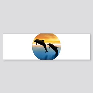 Leaping Dolphin at Sunset in Circle Bumper Sticker