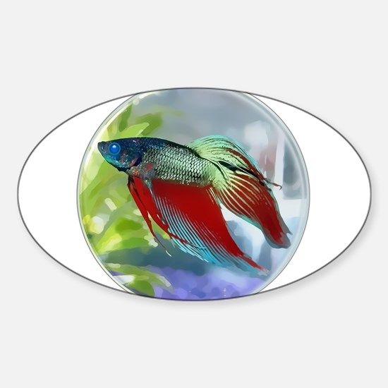 Colorful Betta Fish in a Bubble Decal