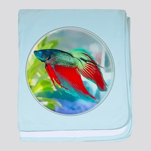 Colorful Betta Fish in a Bubble baby blanket