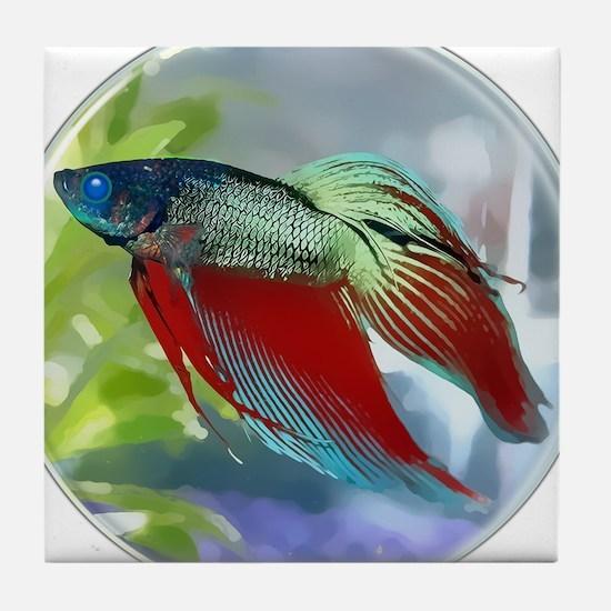 Colorful Betta Fish in a Bubble Tile Coaster