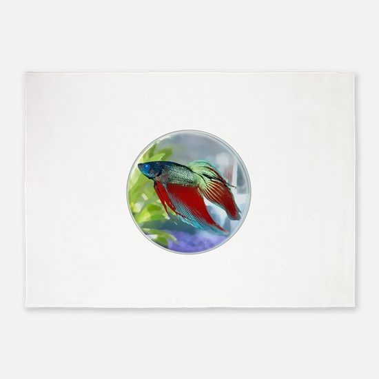 Colorful Betta Fish in a Bubble 5'x7'Area Rug