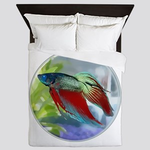 Colorful Betta Fish in a Bubble Queen Duvet