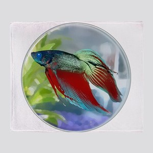 Colorful Betta Fish in a Bubble Throw Blanket